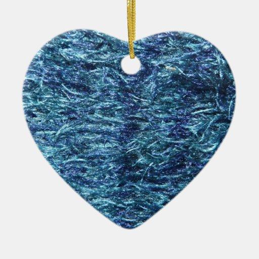 Blue Soft and Fuzzy Ceramic Ornament