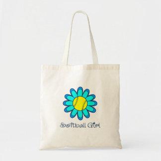 Blue Softball Girl Tote Bag