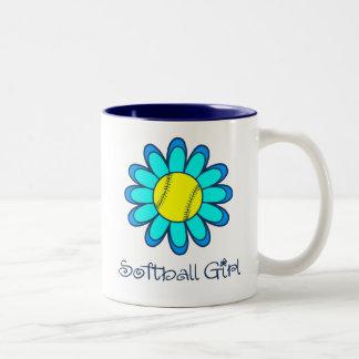 Blue Softball Girl Two-Tone Coffee Mug