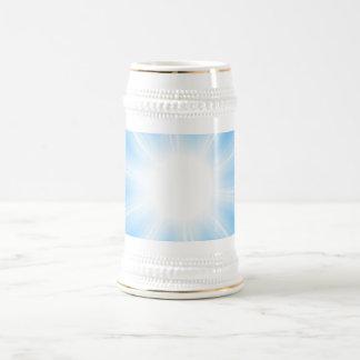 Blue Solar Flare Star Burst Background Beer Stein