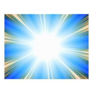 Blue Solar Flare Star Burst Background Flyer