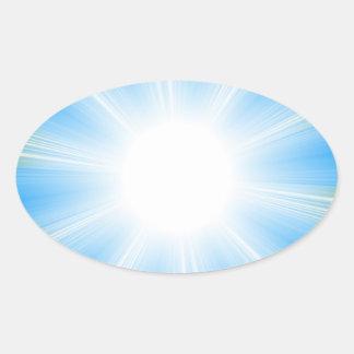 Blue Solar Flare Star Burst Background Oval Sticker