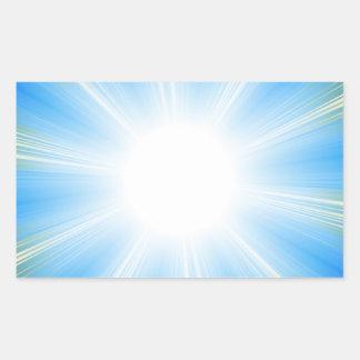 Blue Solar Flare Star Burst Background Rectangular Sticker