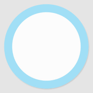 Blue solid color border blank round stickers