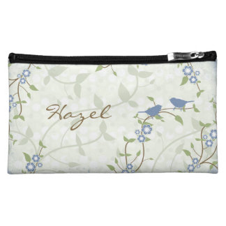 Blue Song Birds Flowers Floral Personalized Makeup Bag