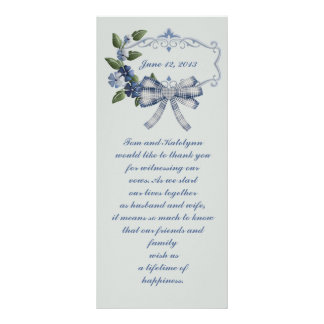 Blue Sophisticated Country Wedding Favor Rack Cards