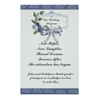 Blue Sophisticated Country Wedding Program
