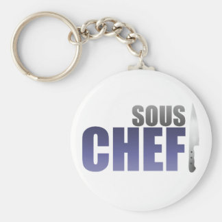 Blue Sous Chef Basic Round Button Keychain