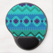 blue southwest pattern -  western abstract art gel mouse pad