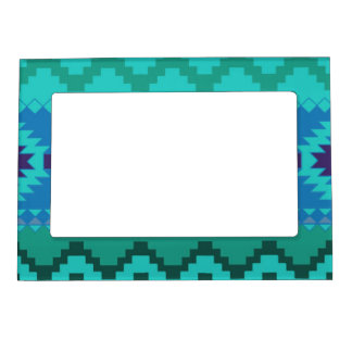blue southwest pattern -  western abstract art magnetic picture frame