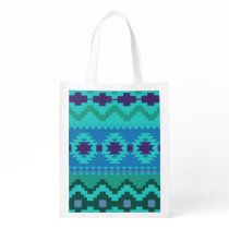 blue southwest pattern -  western abstract art reusable grocery bag