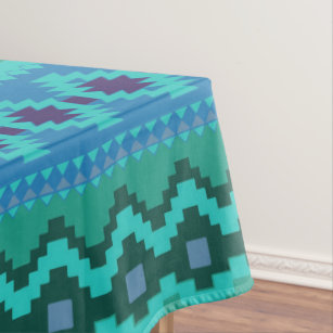 Blue Southwest Pattern   Western Abstract Art Tablecloth