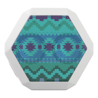 blue southwest pattern -  western abstract art white bluetooth speaker