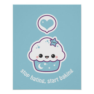Blue Space Cake Poster