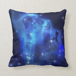Blue Space Cloud Throw Pillow