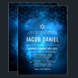 "Blue Space Galaxy Bar Mitzvah Invitations<br><div class=""desc"">Modern space themed Bar Mitzvah invitations in blue and black. This unique galaxy design is the perfect choice for any boy who loves outer space. Easily personalize for your event using the online template fields.</div>"