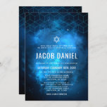 """Blue Space Galaxy Bar Mitzvah Invitations<br><div class=""""desc"""">Modern space themed Bar Mitzvah invitations in blue and black. This unique galaxy design is the perfect choice for any boy who loves outer space. Easily personalize for your event using the online template fields.</div>"""