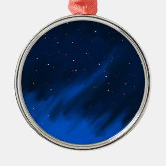 Blue space mist. metal ornament