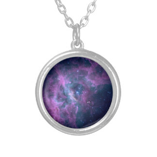 Blue Space Nebula Round Pendant Necklace