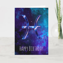 Blue Space Pisces Birthday Card