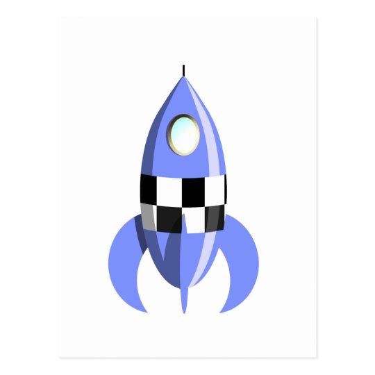 Blue Space Rocket Postcard