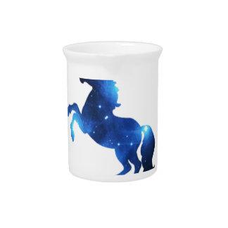 Blue Space Unicorn Horse Beverage Pitchers