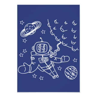 Blue Spaceman Illustration Card