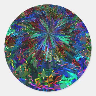 Blue Sparkle Alien Planet Round Sticker