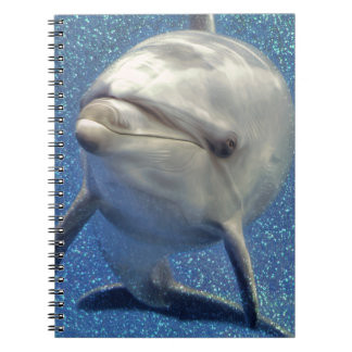 Blue Sparkle Dolphin with Diamonds Monogram Spiral Notebook