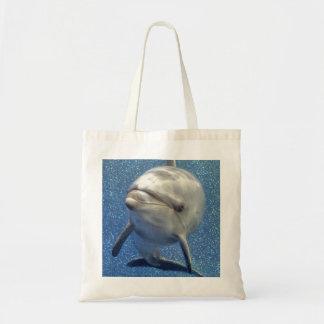 Blue Sparkle Dolphin with Diamonds Monogram Tote Bag