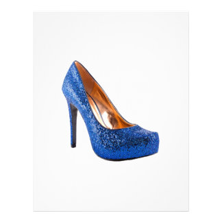 Blue Sparkle High Heel Shoe Fashion Letterhead