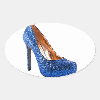 Blue Sparkle High Heel Shoe Fashion Oval Sticker