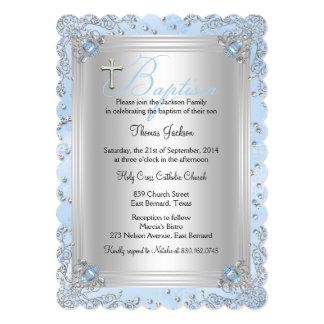 Blue Sparkle Jewel Baptism Christening 2 5x7 Paper Invitation Card