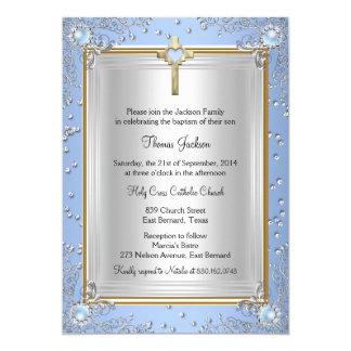 Blue Sparkle Jewel Baptism Christening Gold 2 Card
