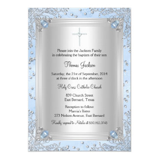 Blue Sparkle Jewel Baptism/Christening Invite