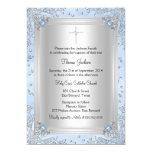 "Blue Sparkle Jewel Baptism/Christening Invite 5"" X 7"" Invitation Card"