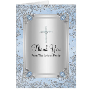 Blue Sparkle Jewel Baptism Thank You Card