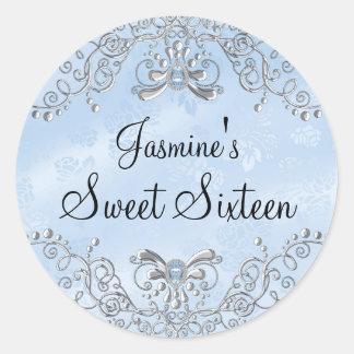 Blue Sparkle Jewel Sweet Sixteen Sticker