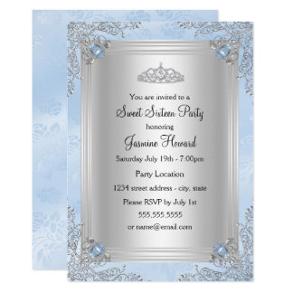 Blue Sparkle Jewel & Tiara Sweet 16 Invitation