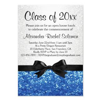 Blue Sparkle-look Bow Graduation/Party Card