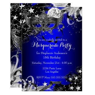 Blue Sparkle Magical Night Masquerade Party Invite