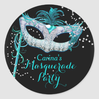 Blue Sparkle Masquerade Party Sticker