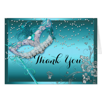Blue Sparkle Masquerade Thank You Card