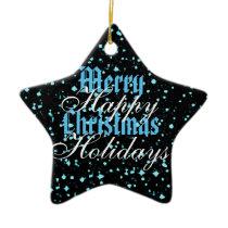 Blue Sparkle Merry Christmas Happy Holidays Ceramic Ornament