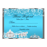 Blue Sparkle Princess Theme RSVP Reply 4.5x6.25 Paper Invitation Card