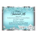 Blue Sparkle Princess Theme Sweet 16 Invite