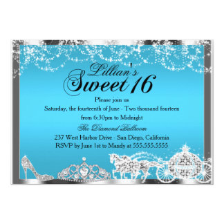 Blue Sparkle Princess Theme Sweet 16 Invite