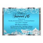 "Blue Sparkle Princess Theme Sweet 16 Invite 5"" X 7"" Invitation Card"