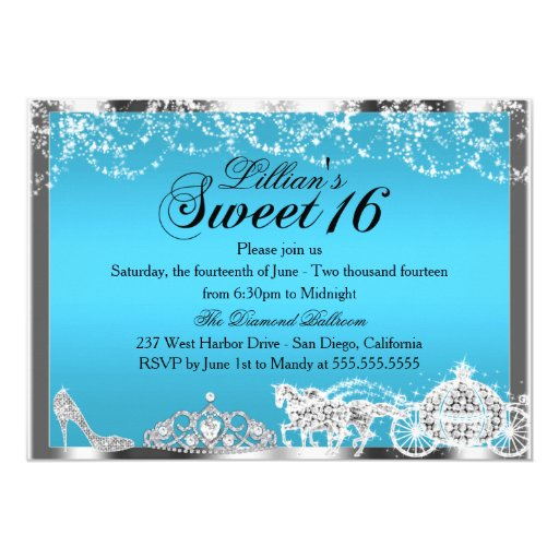 "Blue Sparkle Princess Theme Sweet 16 Invite 5"" X 7"" Invitation Card | Zazzle"