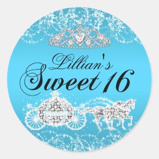 Blue Sparkle Princess Theme Sweet 16 Sticker